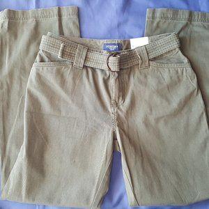 NWT Sonoma Cotton casual pants Green Petite 6